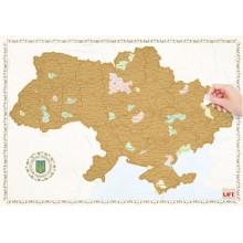 Скретч-карта Украины Scratch Map Ukraine Настенная карта Украины с золотистым скретч-покрытием
