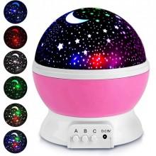Ночник проектор звездное небо детский светильник Star Master MAX 6 режимов работы + USB (Розовый)