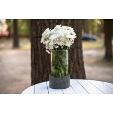 Стеклянная ваза для цветов + бетонное кашпо (2 в 1) Mirchik Графитовый