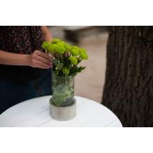 Стеклянная ваза для цветов + бетонное кашпо (2 в 1) Mirchik Серый
